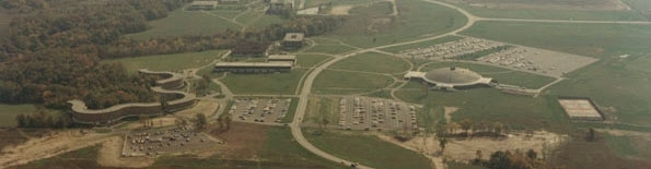 Aerial view of Grand Valley campus, circa 1970